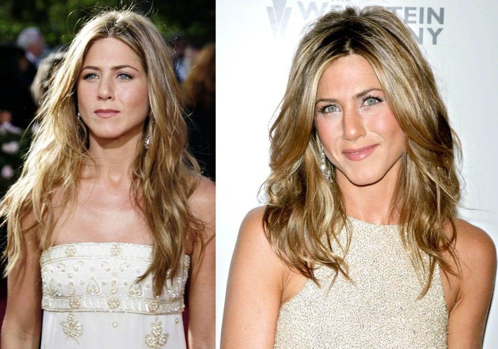 Jennifer Aniston em Friends e 15 anos depois